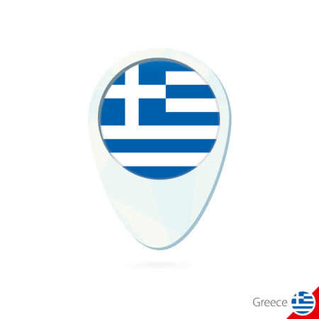 greece flag: Greece flag location map pin icon on white background. Vector Illustration. Illustration