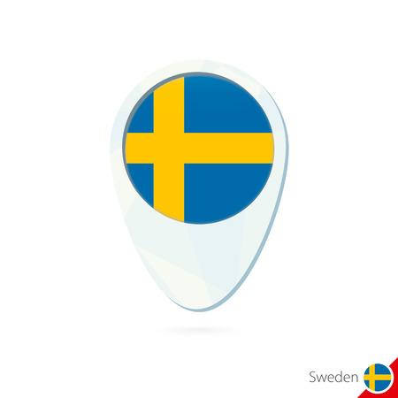 bandera suecia: Suecia icono pin de mapa de ubicaci�n de la bandera en el fondo blanco. Ilustraci�n del vector. Vectores
