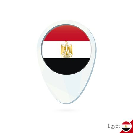 egypt flag: Egypt flag location map pin icon on white background. Vector Illustration. Illustration