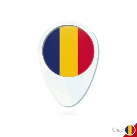 chad flag: Chad flag location map pin icon on white background. Vector Illustration.