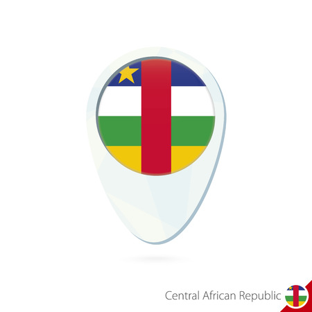 car flag: Central Cfrican Republic (CAR) flag location map pin icon on white background. Vector Illustration.