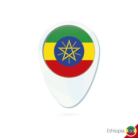 ethiopia abstract: Ethiopia flag location map pin icon on white background. Vector Illustration.
