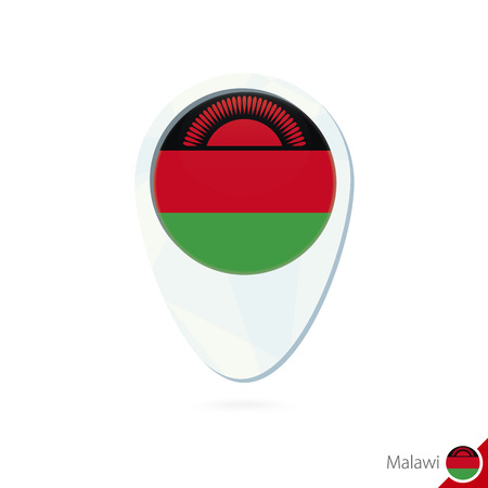 malawi flag: Malawi flag location map pin icon on white background. Vector Illustration. Illustration