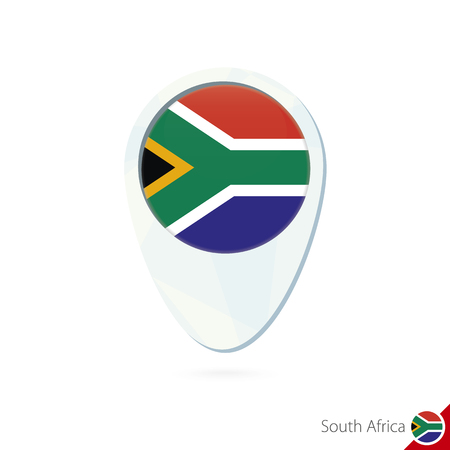 south africa flag: South Africa flag location map pin icon on white background. Vector Illustration.