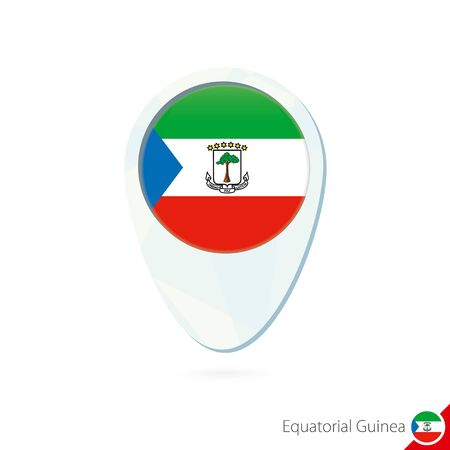 equatorial guinea: Equatorial Guinea flag location map pin icon on white background. Vector Illustration.