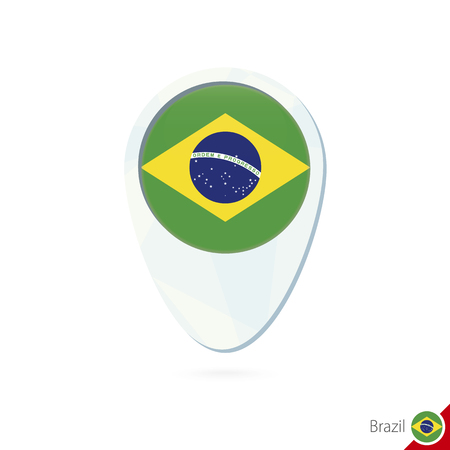 Brazil flag location map pin icon on white background. Vector Illustration.