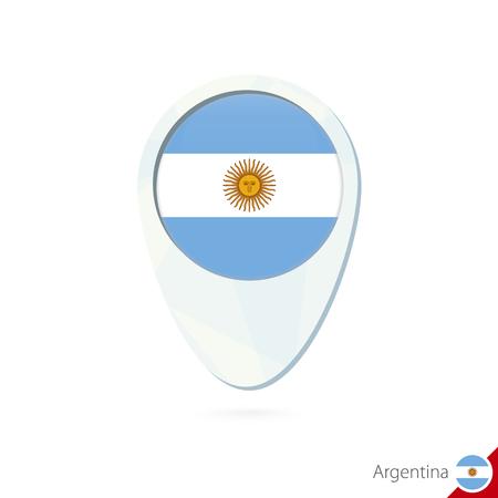bandera argentina: Argentina icono de pin de mapa de ubicaci�n de la bandera en el fondo blanco. Ilustraci�n del vector. Vectores