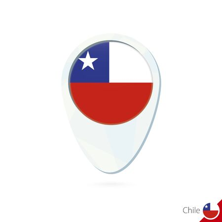 chile flag: Chile flag location map pin icon on white background. Vector Illustration.