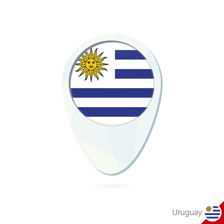 bandera uruguay: Uruguay icono de pin de mapa de ubicación de la bandera en el fondo blanco. Ilustración del vector.