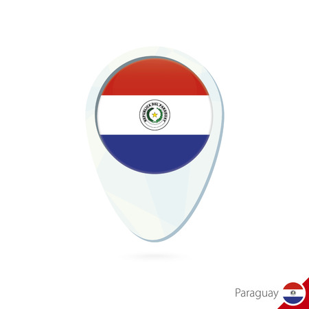 bandera de paraguay: Paraguay flag location map pin icon on white background. Vector Illustration. Vectores
