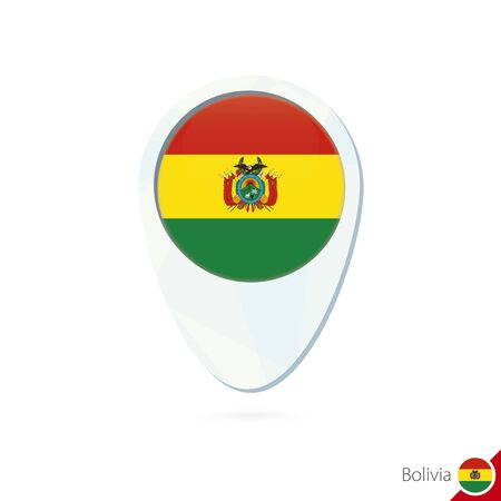 bolivia flag: Bolivia flag location map pin icon on white background. Vector Illustration. Vectores