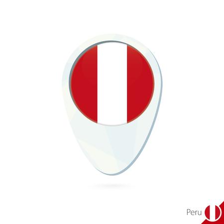 bandera de peru: Per� icono de pin de mapa de ubicaci�n de la bandera en el fondo blanco. Ilustraci�n del vector.