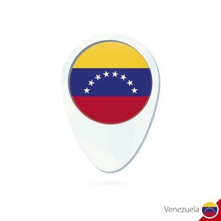 bandera de venezuela: Venezuela icono de pin de mapa de ubicación de la bandera en el fondo blanco. Ilustración del vector.