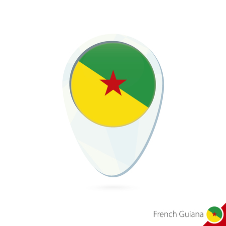 guiana: French Guiana flag location map pin icon on white background. Vector Illustration.