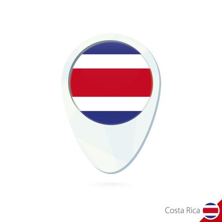 bandera de costa rica: Costa Rica icono pin de mapa de ubicaci�n de la bandera en el fondo blanco. Ilustraci�n del vector.