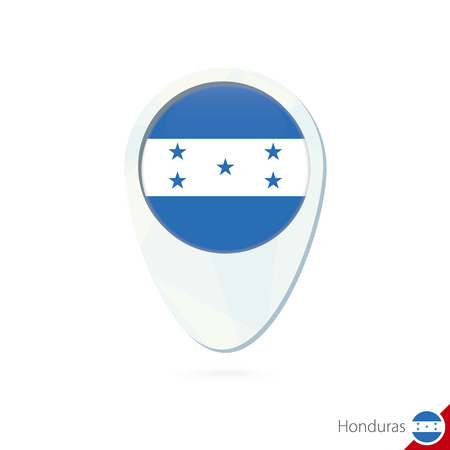 bandera honduras: Honduras flag location map pin icon on white background. Vector Illustration. Vectores