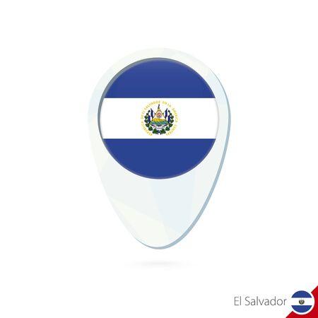 bandera de el salvador: El Salvador icono de pin de mapa de ubicación de la bandera en el fondo blanco. Ilustración del vector. Vectores