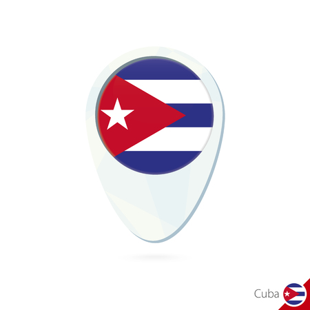 cuba flag: Cuba flag location map pin icon on white background. Vector Illustration.