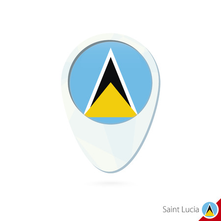 Saint Lucia Flag Location Map Pin Icon On White Background Vector