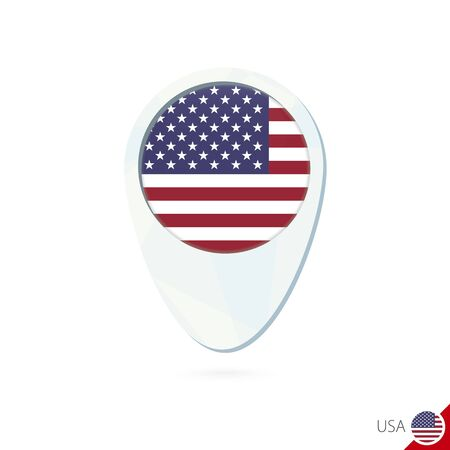 USA flag location map pin icon on white background. Vector Illustration. Vetores