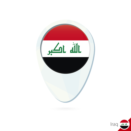 iraq flag: Iraq flag location map pin icon on white background. Vector Illustration.