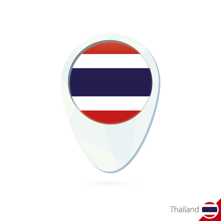 thailand flag: Thailand flag location map pin icon on white background. Vector Illustration.