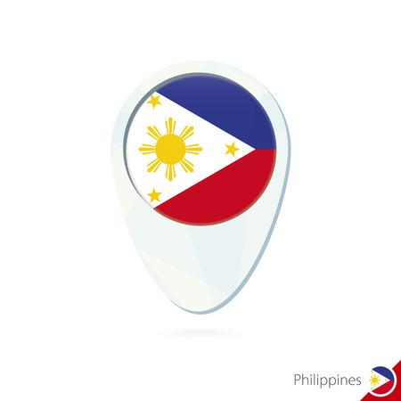 bandera blanca: Filipinas icono pin de mapa de ubicación de la bandera en el fondo blanco. Ilustración del vector.