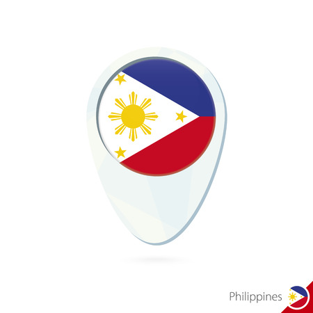 european flag: Philippines flag location map pin icon on white background. Vector Illustration.