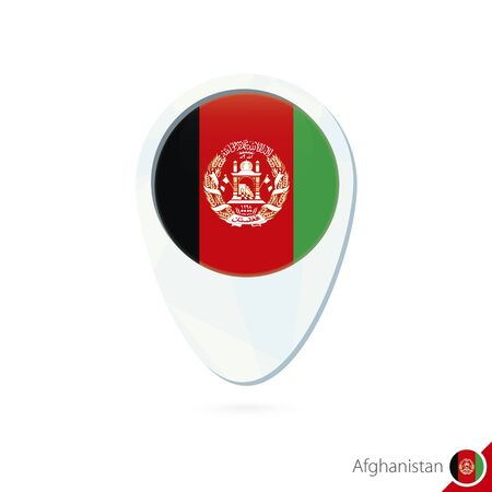 afghanistan flag: Afghanistan flag location map pin icon on white background. Vector Illustration.