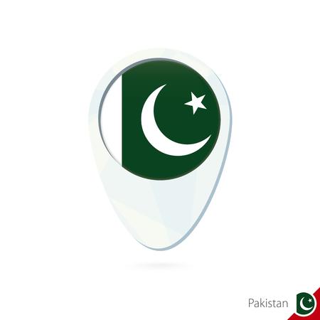 pakistan flag: Pakistan flag location map pin icon on white background. Vector Illustration. Illustration