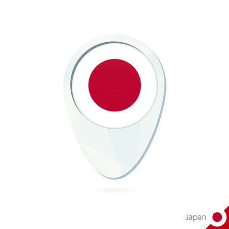 japan flag: Japan flag location map pin icon on white background. Vector Illustration.