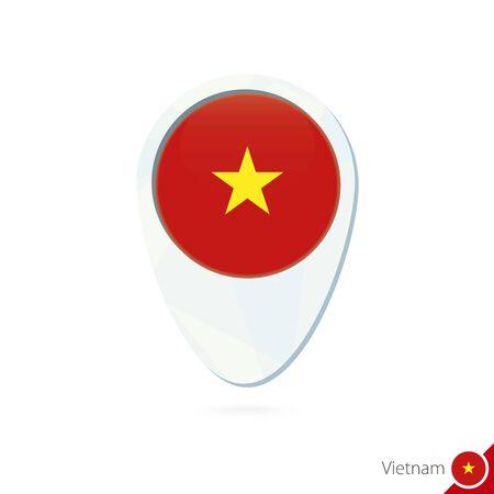 vietnam flag: Vietnam flag location map pin icon on white background. Vector Illustration.