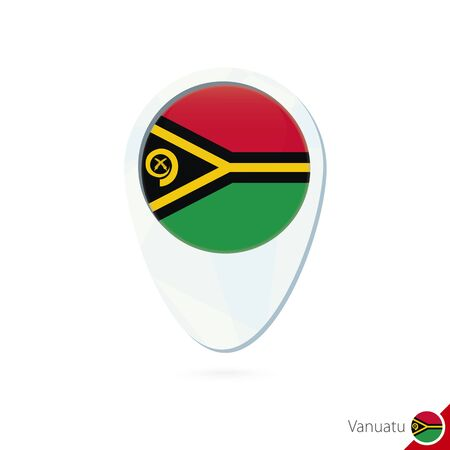 red sign: Vanuatu flag location map pin icon on white background. Vector Illustration.