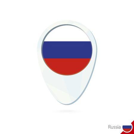 bandera rusia: Rusia icono de pin de mapa de ubicación de la bandera en el fondo blanco. Ilustración del vector.