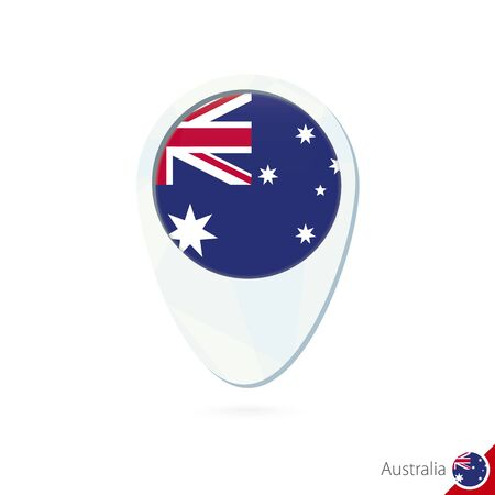 Australia flag location map pin icon on white background. Vector Illustration.