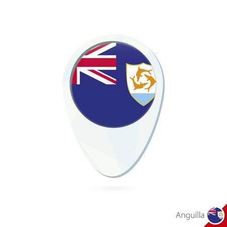 anguilla: Anguilla flag location map pin icon on white background. Vector Illustration. Illustration