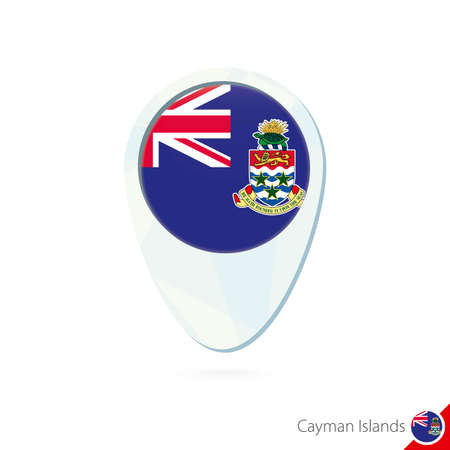 cayman islands: Cayman Islands flag location map pin icon on white background. Vector Illustration.
