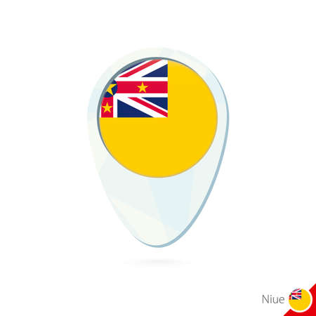 niue: Niue flag location map pin icon on white background. Vector Illustration.