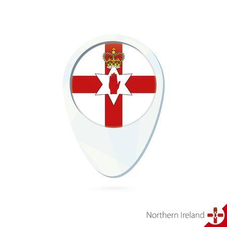 northern ireland: Northern Ireland flag location map pin icon on white background. Vector Illustration. Illustration