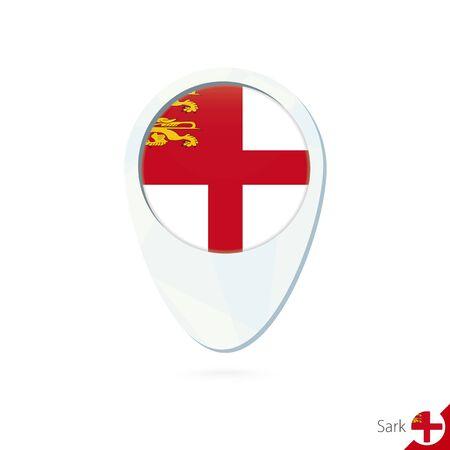 sark: Sark flag location map pin icon on white background. Vector Illustration. Illustration