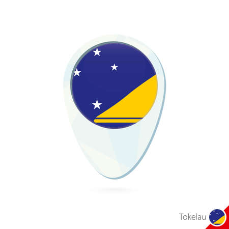 tokelau: Tokelau flag location map pin icon on white background. Vector Illustration. Illustration