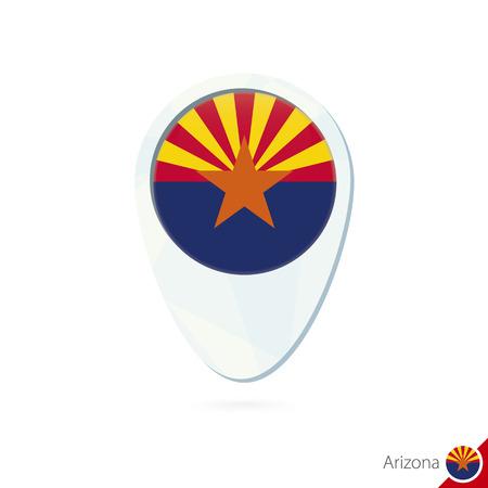 state of arizona: USA State Arizona flag location map pin icon on white background. Vector Illustration.