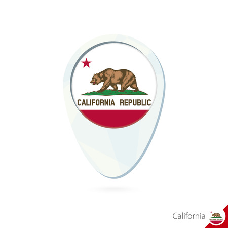 USA State California flag location map pin icon on white background. Vector Illustration. 일러스트