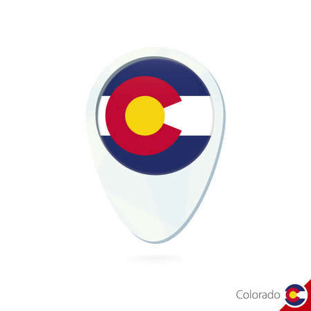 state of colorado: USA State Colorado flag location map pin icon on white background. Vector Illustration.