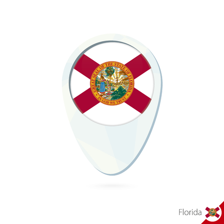 USA State Florida flag location map pin icon on white background. Vector Illustration.