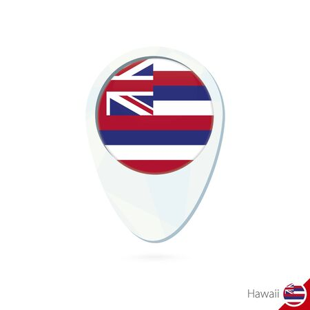 hawaii flag: USA State Hawaii flag location map pin icon on white background. Vector Illustration.