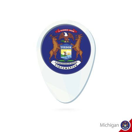 michigan flag: USA State Michigan flag location map pin icon on white background. Vector Illustration.