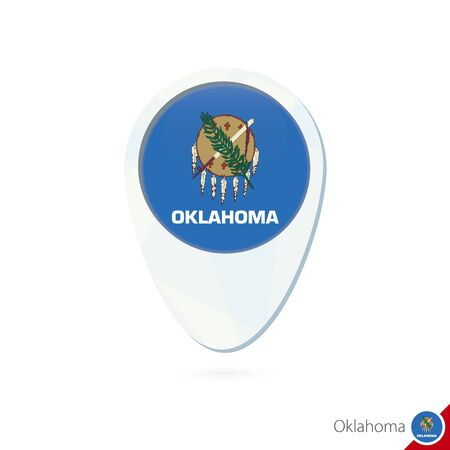 USA State Oklahoma flag location map pin icon on white background. Vector Illustration.