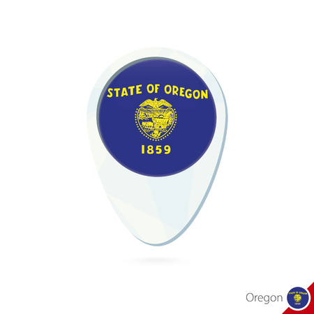 state of oregon: USA State Oregon flag location map pin icon on white background. Vector Illustration.