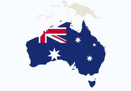 oceania: Oceania with highlighted Australia map. Vector Illustration.